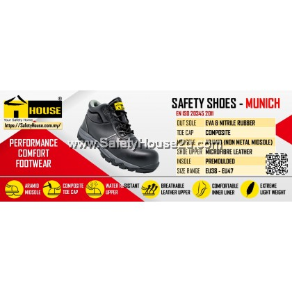 HOUSE MUNICH SAFETY SHOES  C/W COMPOSITE TOE CAP & ARAMID MID SOLE