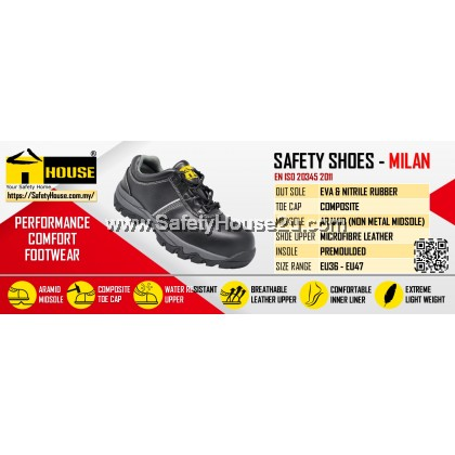 HOUSE MILAN SAFETY SHOES  C/W COMPOSITE TOE CAP & ARAMID MID SOLE